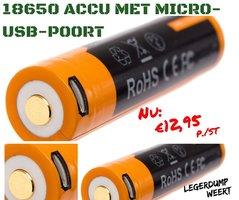 Fenix ARB-L18-2600U 18650 accu met micro-USB-poort, 2600 mAh