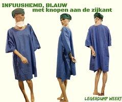 Infuushemd BLAUW knopen aan de zijkant