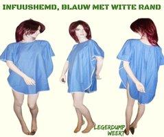 INFUUSHEMD BLAUW MET WITTE RAND