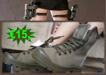 Canvas boots Groen