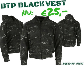 BTP Black vest met capuchon