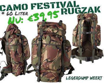 60 Liter Camo Festival Rugzak